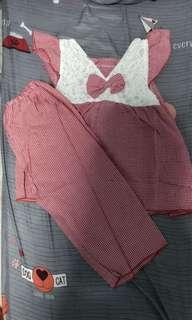 2 piece set lady red checker