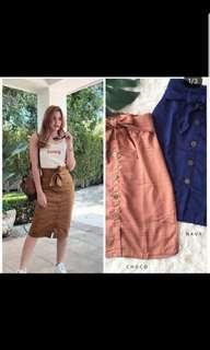Bkk trendy brown button skirt
