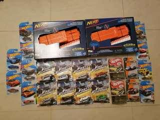 2 Nerf Modulus blaster clip, 8 hot wheels Fast and Furious, 2 chevy convertible Collectors edition, 10 popular hot wheels collection and 2 65th anniversary matchbox cars.