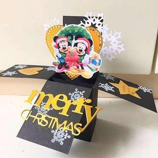 Merry Christmas Mickey Mouse handmade Pop Up Card