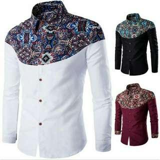 Men Summer Casual Batik Printed Long Sleeve Shirts