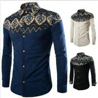 Men Summer Casual Batik Printed Long Sleeve Shirt