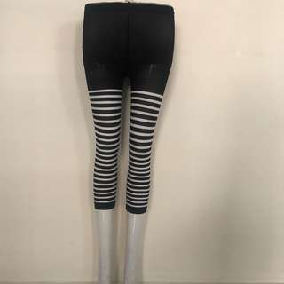 0e6083fe879   CATZ   Leggings Stocking 3 4 Leggings Black White Striped Leggings