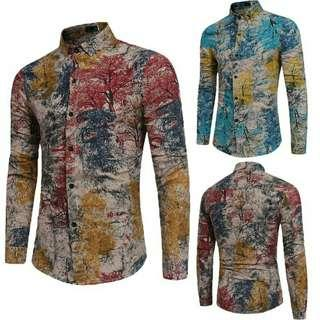 Men Summer Casual Auturm Tree Long Sleeve Shirt