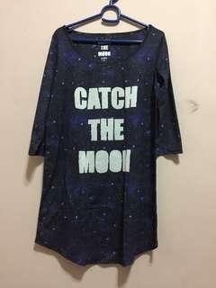 T shirt biru galaxy