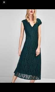 Long guipure lace dress by Massimo Dutti