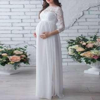 RE-PRICE! Maternity Lace Dress - Dress Panjang Hamil, Maternity Shoot, Properti Foto Hamil, Bahan Brukat Warna Putih