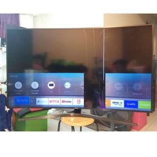 "Samsung 55"" KU6500K UHD 4K Cracked Screen LED Smart TV Curved Broken LED $250. Handover @ 446 Yishun Avenue 11 Singapore 760446"