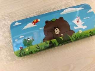 Line friends brown pen box case 筆盒