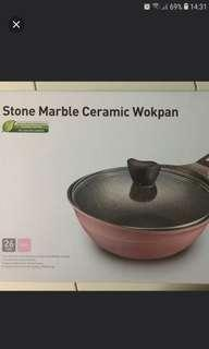 Stone Marble Ceramic Wok With Lid 26cm