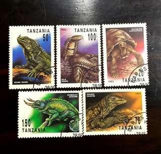 🚚 坦尚尼亞爬蟲類郵票