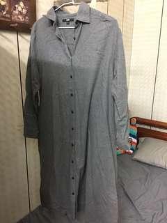 🚚 毛呢長版襯衫洋裝