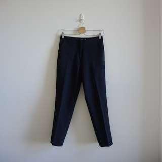 正韓製高腰西裝長褲-深藍色 免運