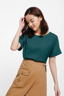 🚚 Love Bonito Nuena Cuffed Sleeve Boxy Top, Teal M