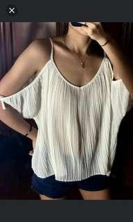 F21 seethrough cold shoulder top
