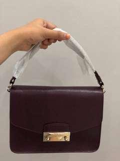 Furla Julia Shoulder Satchel in Maroon with Long Strap (Brand New, slightly negotiable)