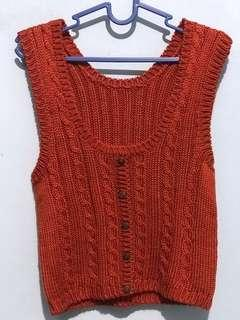 Orange Knit Sleeveless Top