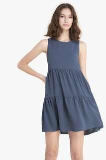 🚚 Fayth Wilow Tiered Babydoll Dress, Ash Blue S