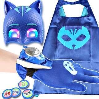 Pj mask suit cape glove mask