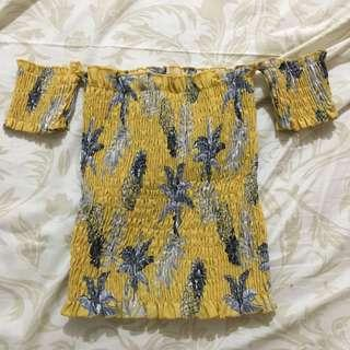 Yellow smocked floral off shoulder top