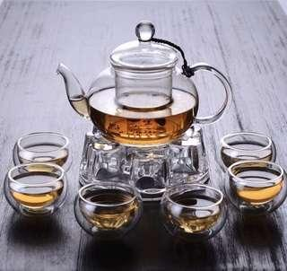Glass Teapot with double layer cup 6 pcs