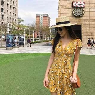 🚚 INSTOCKS Summer wrap over Tie Waist floral dress - mustard yellow
