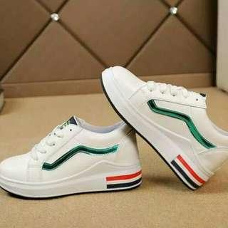 sepatu putih sneakers wanita // kets sport casual white shoes wedges slipon flatshoes