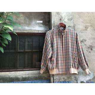 🚚 復古burberry風格條紋拉鍊夾克 立領飛行員防風毛呢罩衫 Vintage土耳其黃風衣 古著懷舊毛料棒球外套 男女可穿 私服
