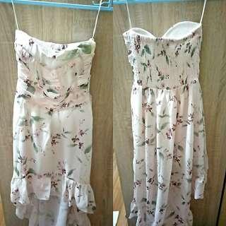 Unbalanced flowery dress