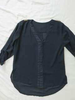 Black Sheer 3/4 sleeve Top