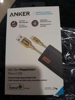 Nrand New Anker 6ft 1.8M Poeer Line Micro USB Fast Charger Cable