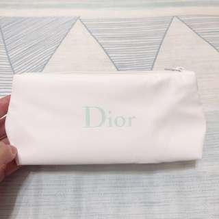 Dior 化妝包 /白底tiffany藍色字