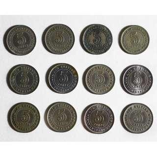 Malaya and british borneo 5 cents coin