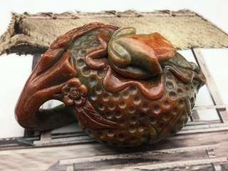 天然翡翠糯種辣色紅翡金蟾荷花茶壺(精雕色辣)