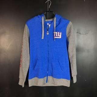 🚚 古著 NFL 紐約巨人藍灰拼接連帽外套