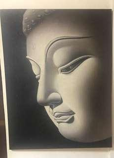 Huge Buddha face oil painting