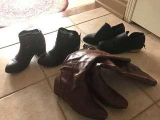 Booties 2 black booties sizes are 38 and 7 and the brown boots has zipper at the back of boot and a very little wedge such a cute boot $20 each