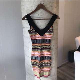 Marciano Black & Print Dress (Size Extra-Small)