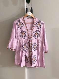 Vintage thrift floral embroidery kimono dress (Lilac Purple)