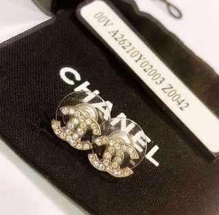 Chanel classic mini cc crystal logo stud earrings
