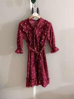 Vintage thrift ruffle self die polkadot midi dress (Maroon)