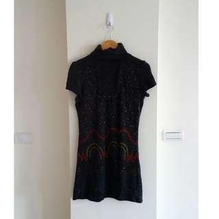 高領花紋針織洋裝