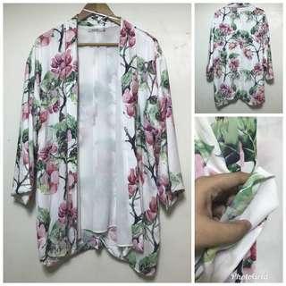 floral white long blazer