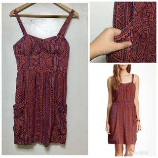 aztec padded dress with pockets