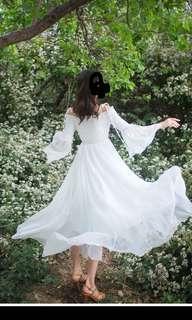 白色波希米亞兩著裙 可吊帶/一字肩 大裙擺