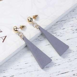 Grey Triangle Earrings