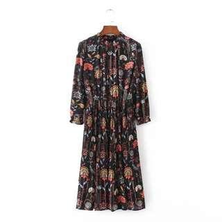 Vintage Flora Maxi Dress Size M