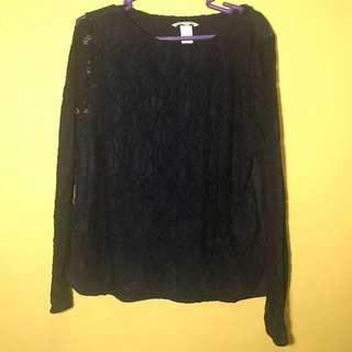 H&M Navy Blue Lace Longsleeves