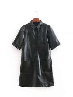 Zara PU Leather Shirt Dress Size L