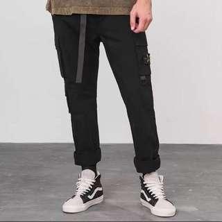 🇺🇸歐美Streetwear多功能織帶鬆緊工裝褲